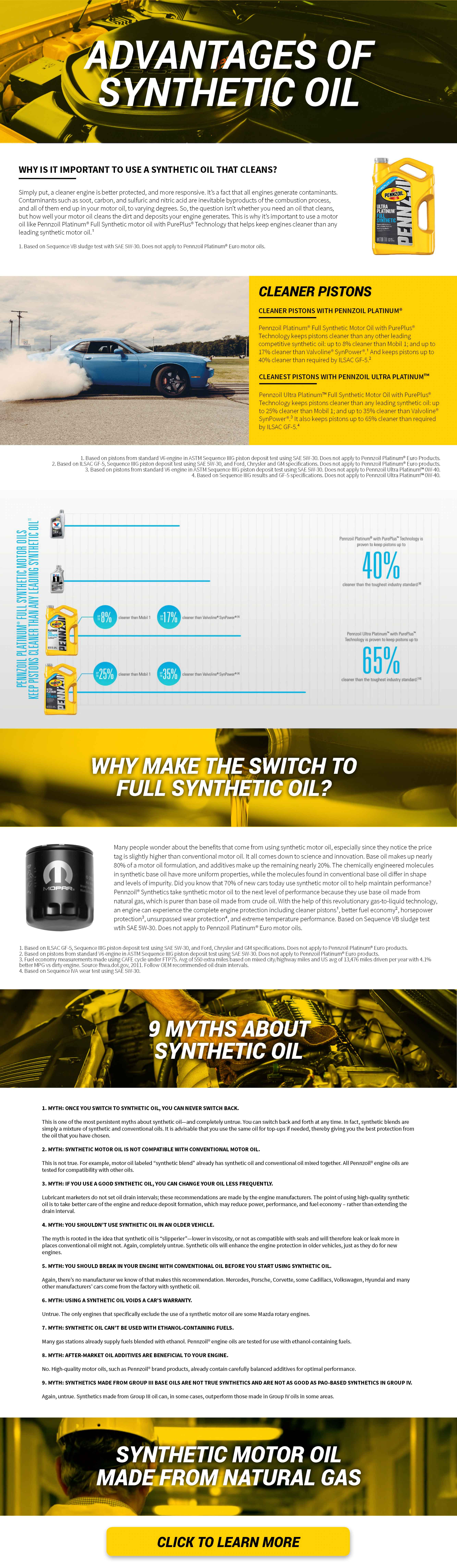 Mopar synthetic motor oil informational flyer describing synthetic motor oil made from matural gas